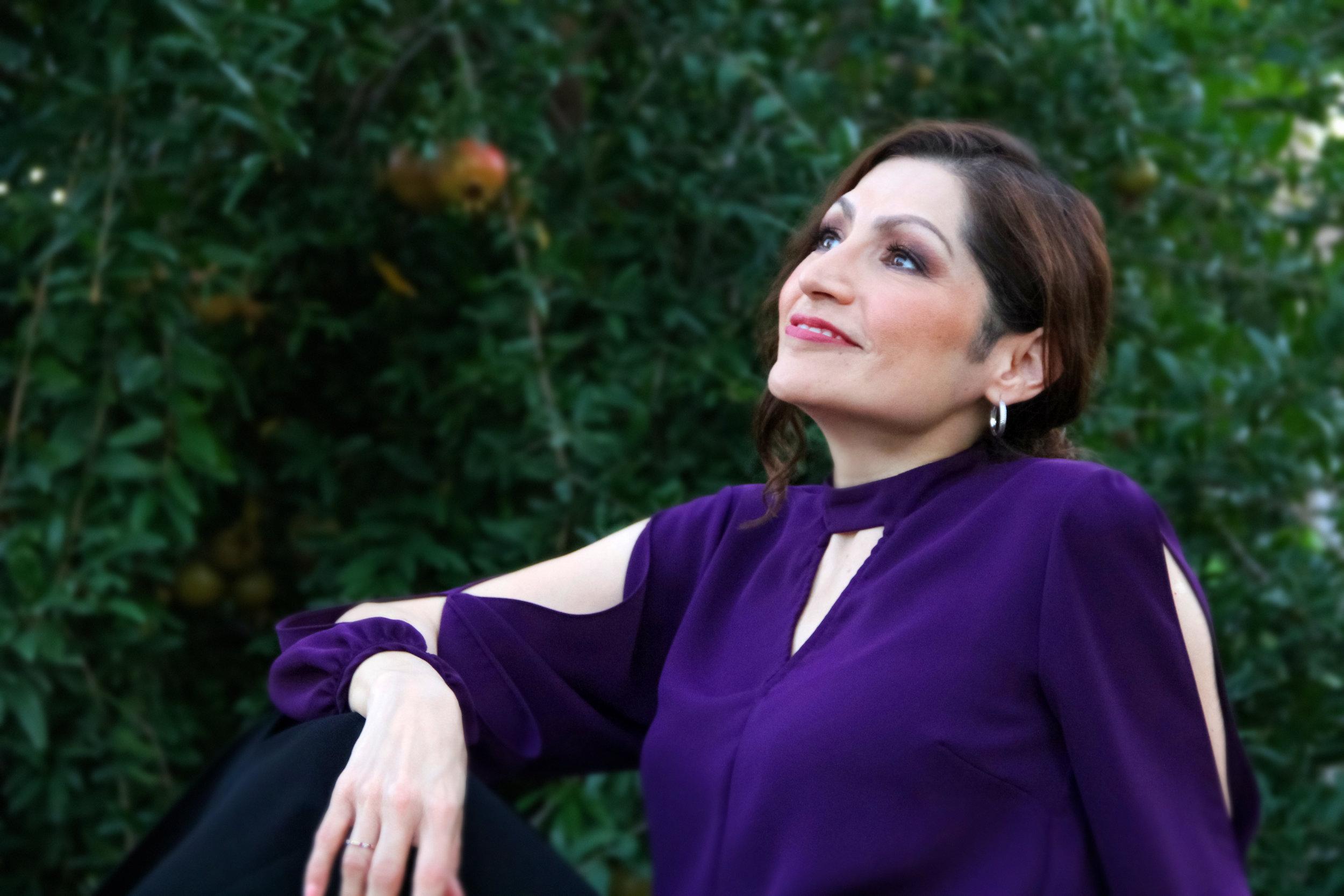 Monica Ortiz in a garden